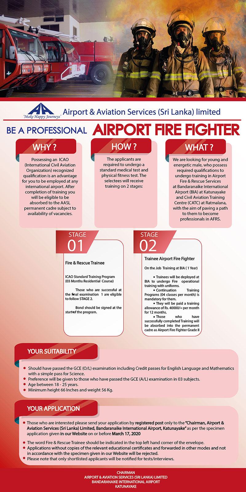 Fire & Rescue Trainee - Airport Aviation Services (Sri Lanka) Ltd