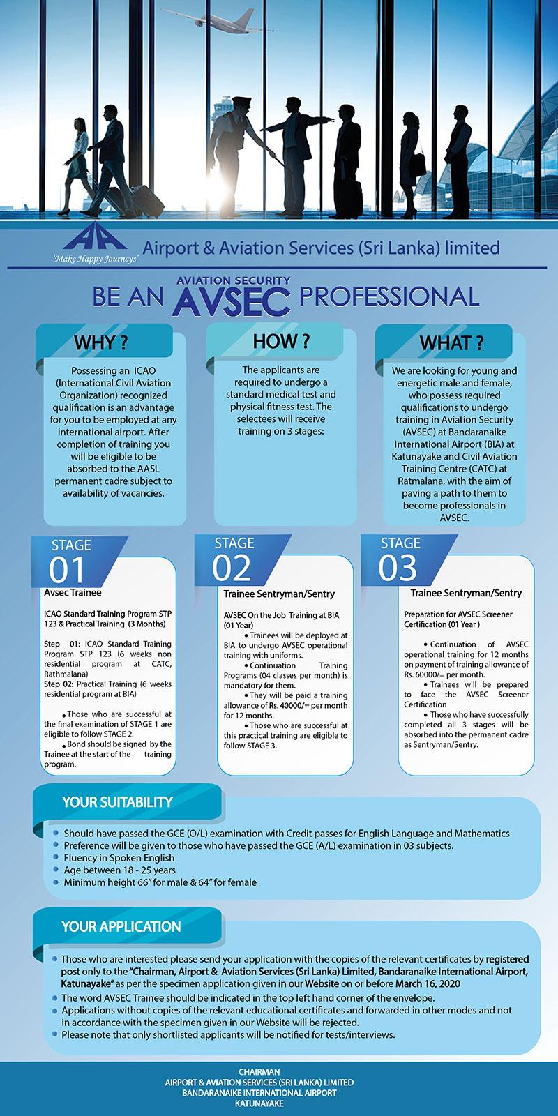 Avsec Trainee - Airport & Aviation Services (Sri Lanka) Ltd