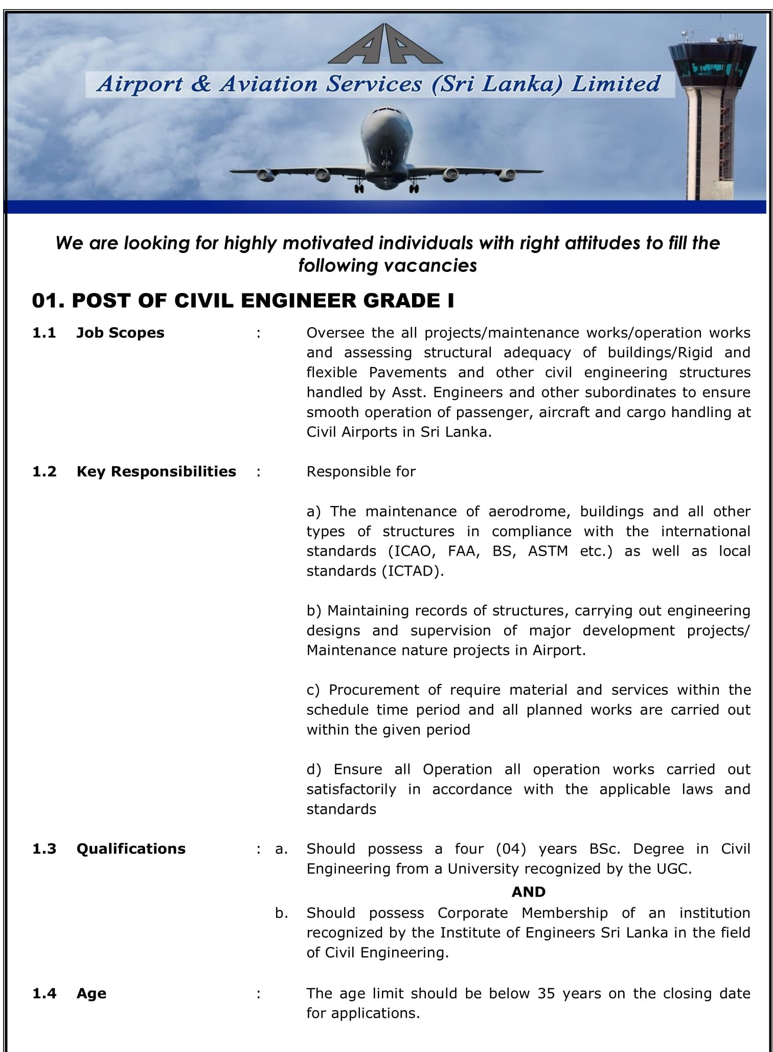 Engineer (Civil, Electrical, Electronics) - Airport & Aviation Services (Sri Lanka) Ltd