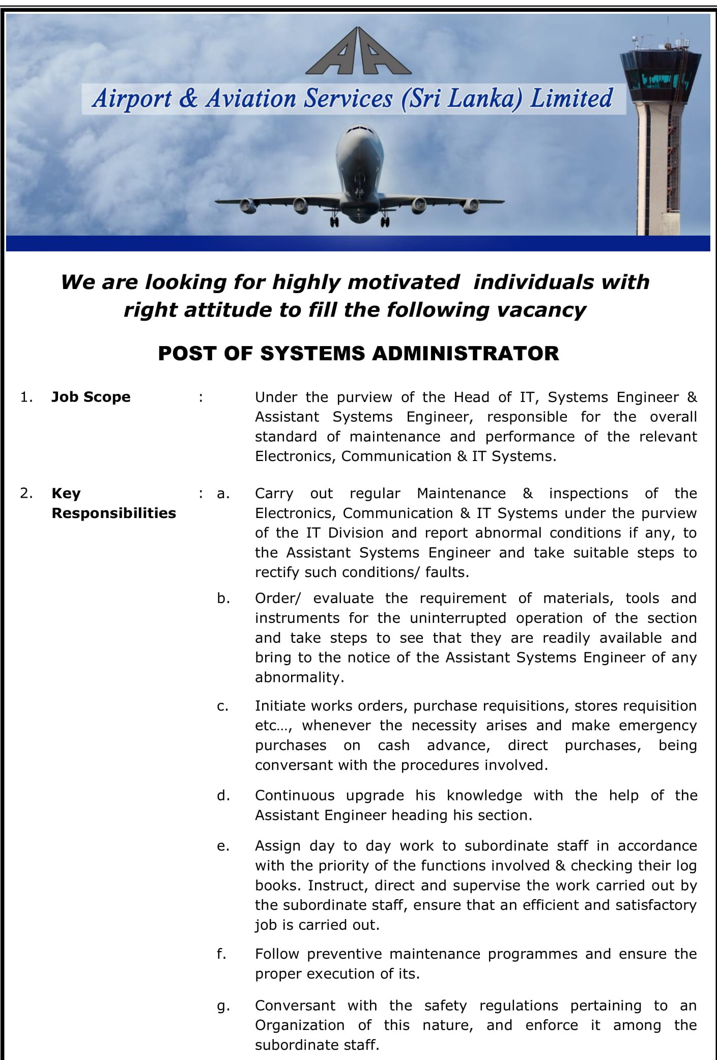 Systems Administrator - Airport & Aviation Services (Sri Lanka) Ltd