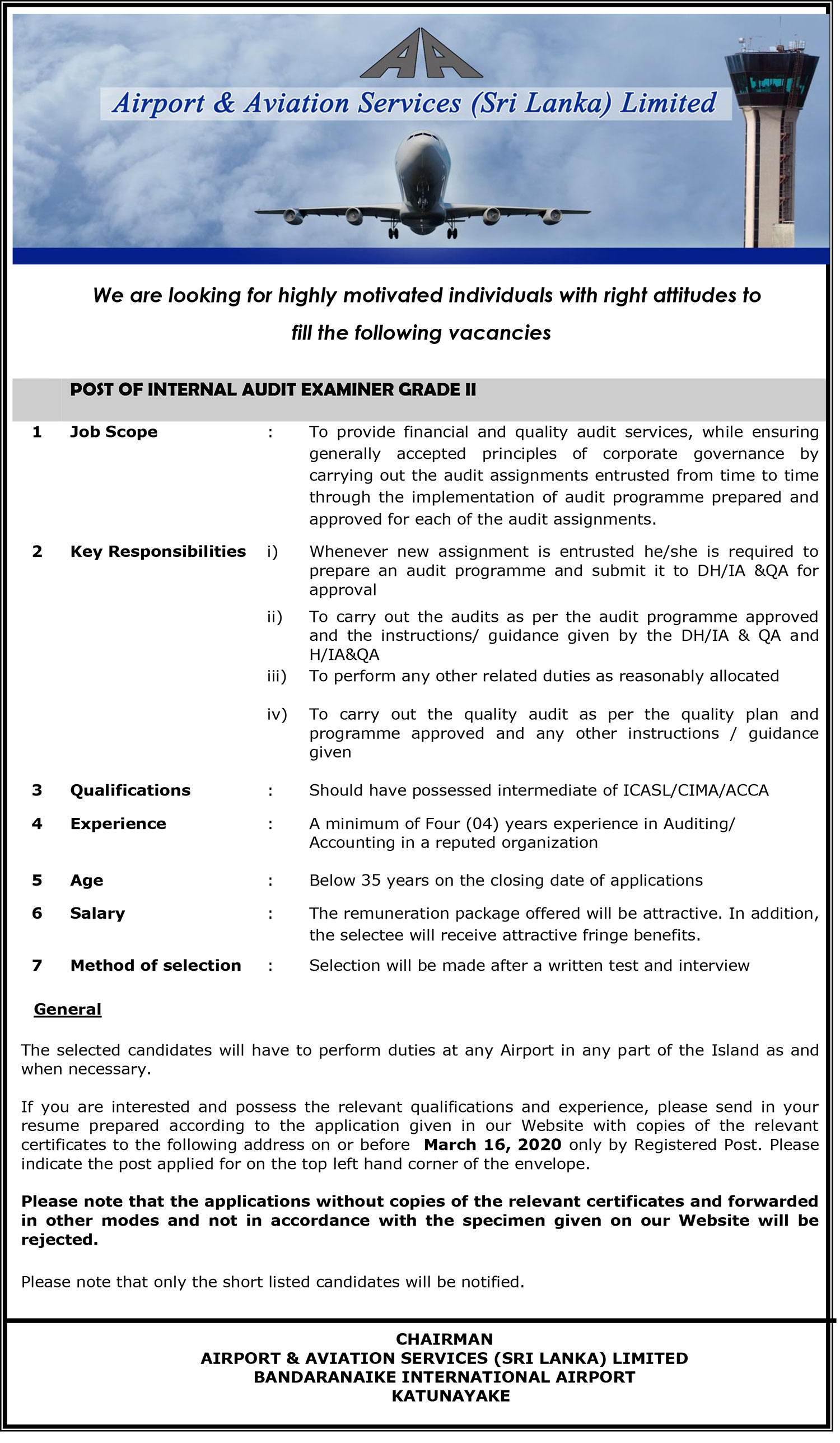Internal Audit Examiner - Airport & Aviation Services (Sri Lanka) Ltd