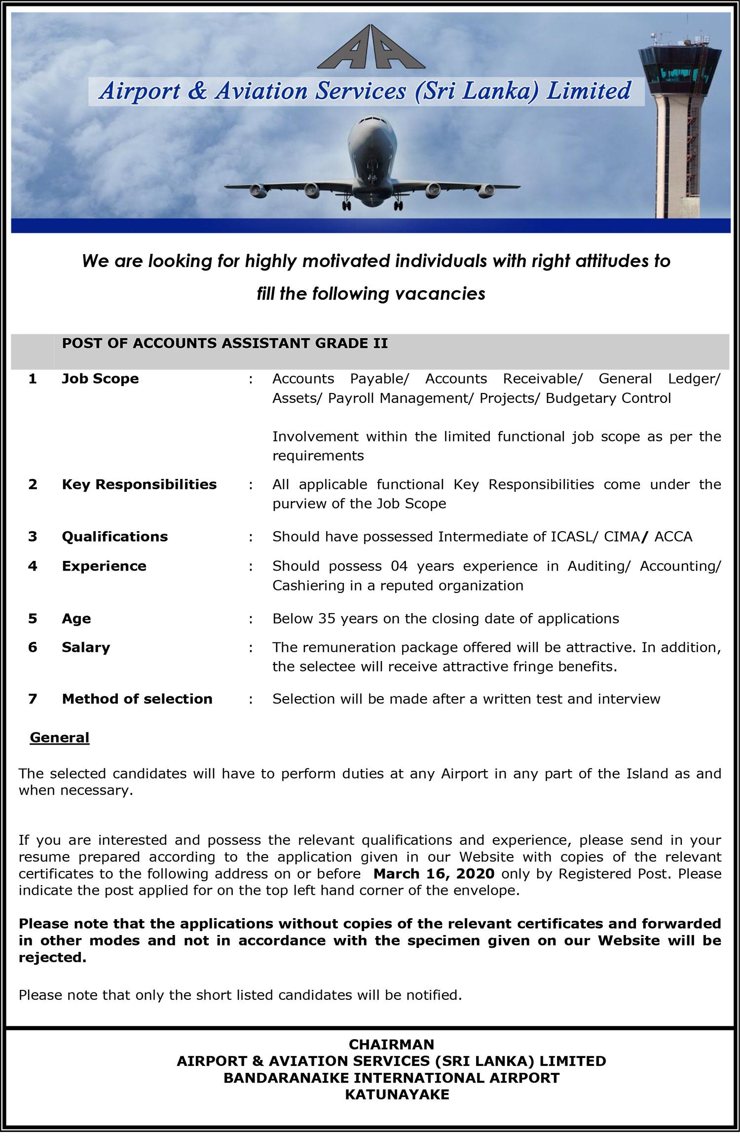 Accounts Assistant - Airport & Aviation Services (Sri Lanka) Ltd