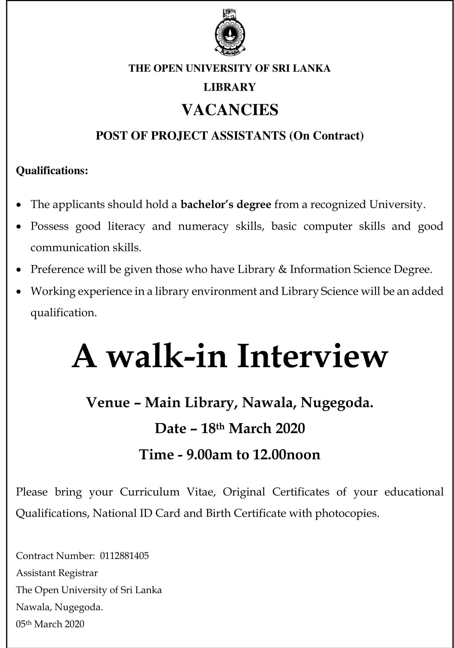 Project Assistant - Open University of Sri Lanka