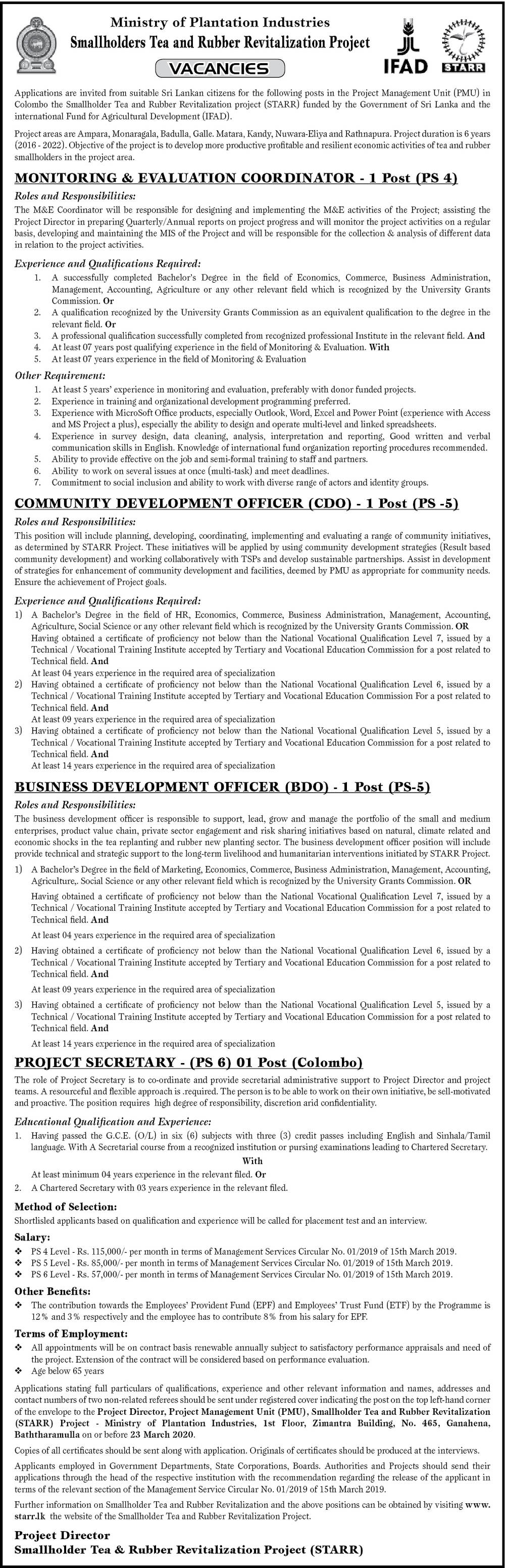 Community Development Officer, Business Development Officer, Project Secretary, Monitoring & Evaluation Coordinator - Ministry of Plantation Industries