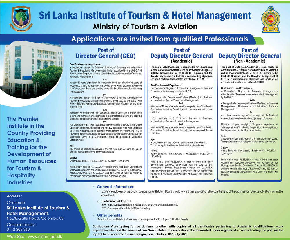 Director General, Deputy Director General - Sri Lanka Institute of Tourism & Hotel Management