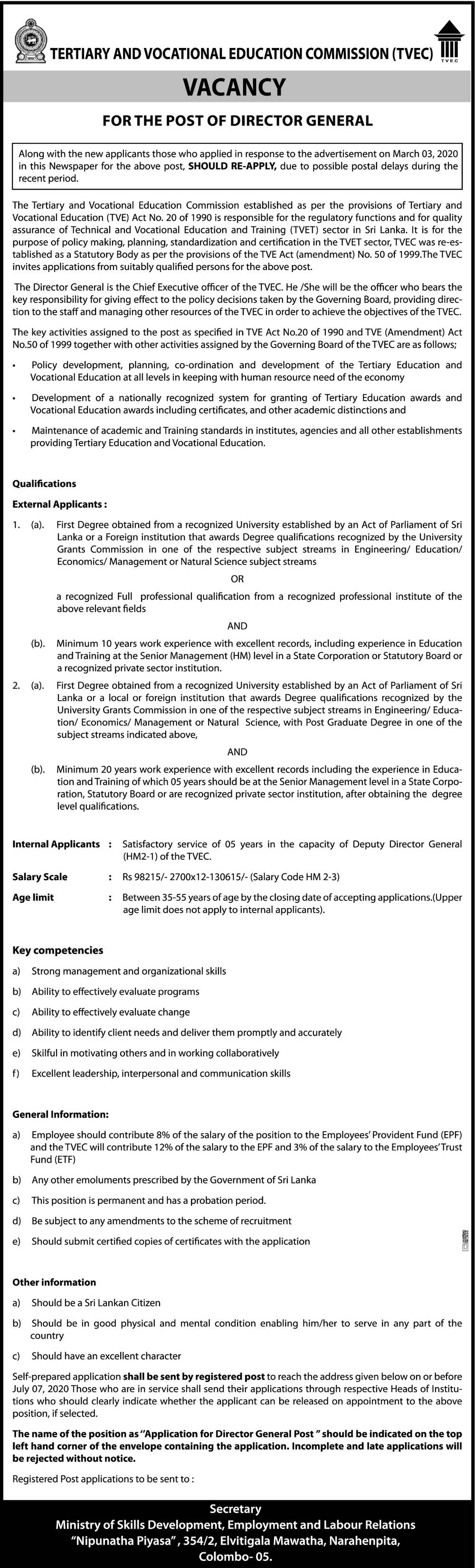 Director General - Tertiary & Vocational Education Commission