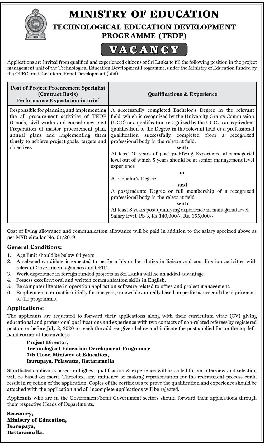 Project Procurement Specialist - Ministry of Education