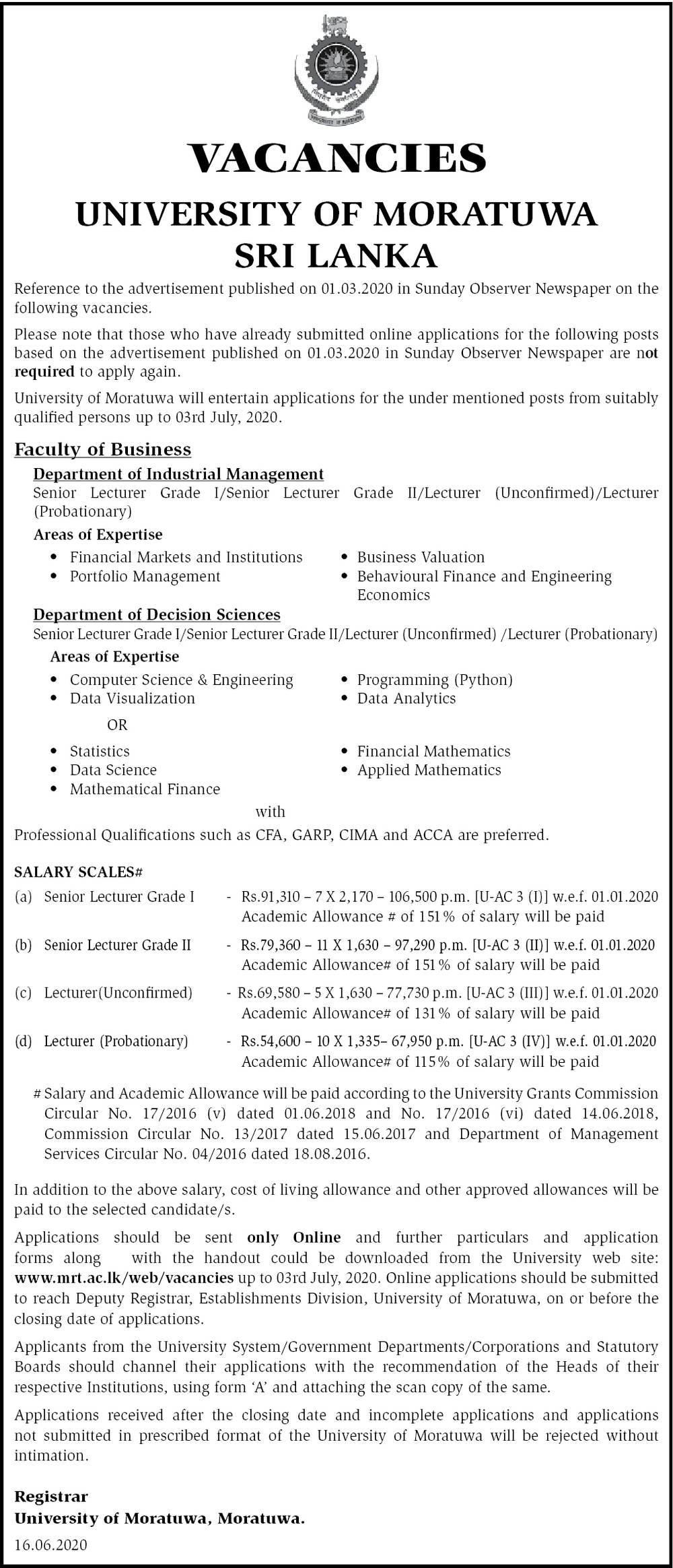 Senior Lecturer, Lecturer - University of Moratuwa