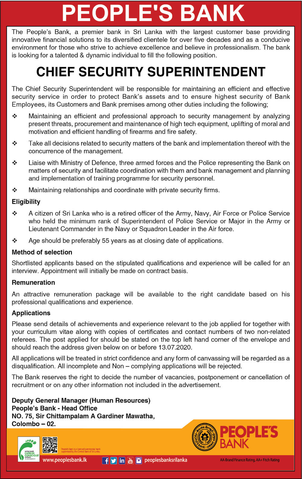 Chief Security Superintendent - People's Bank