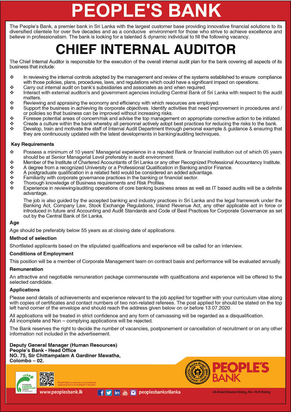 Chief Internal Auditor - People's Bank