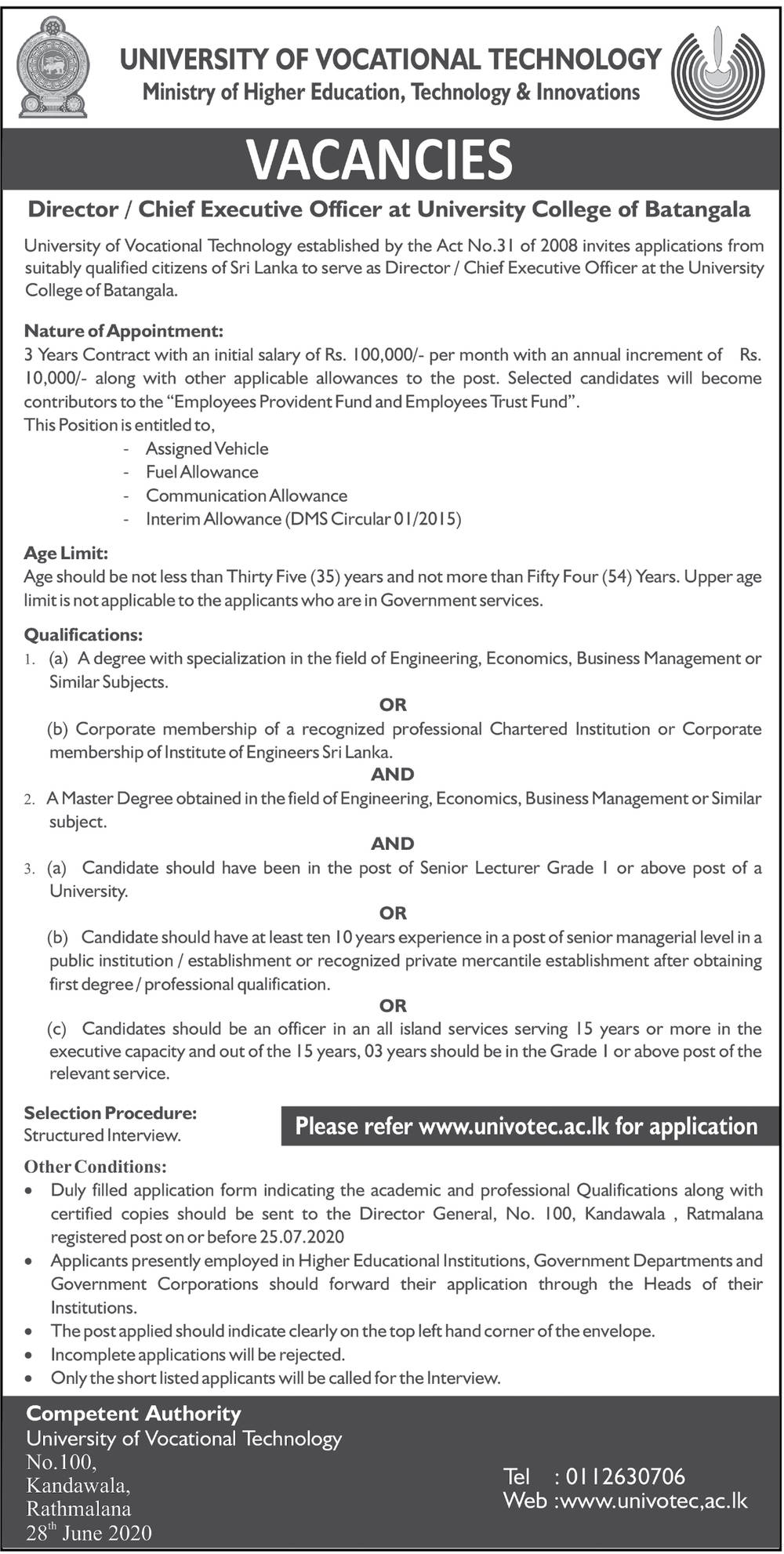 Director/Chief Executive Officer - University College of Batangala