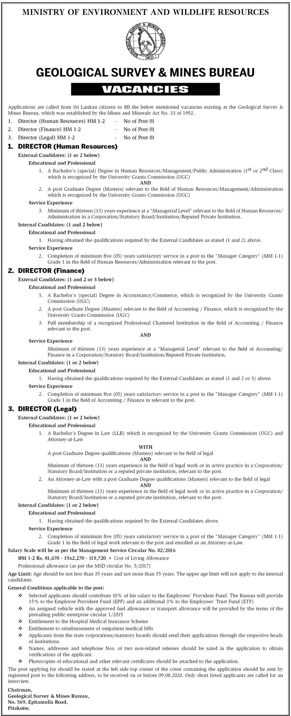 Director (HR, Finance, Legal) - Geological Survey & Mines Bureau