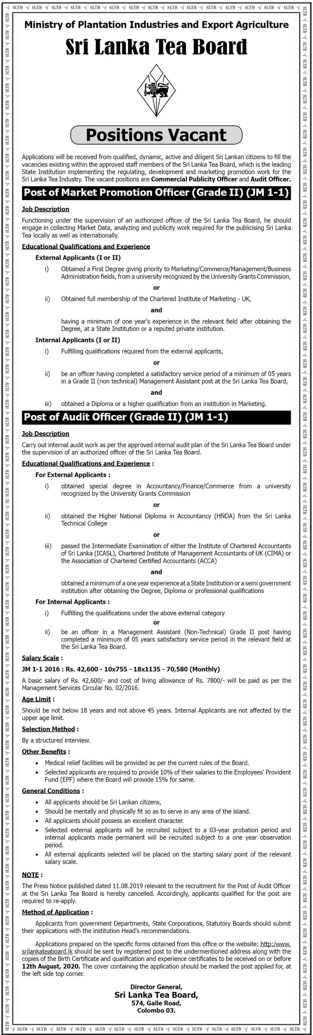 Market Promotion Officer, Audit Officer - Sri Lanka Tea Board