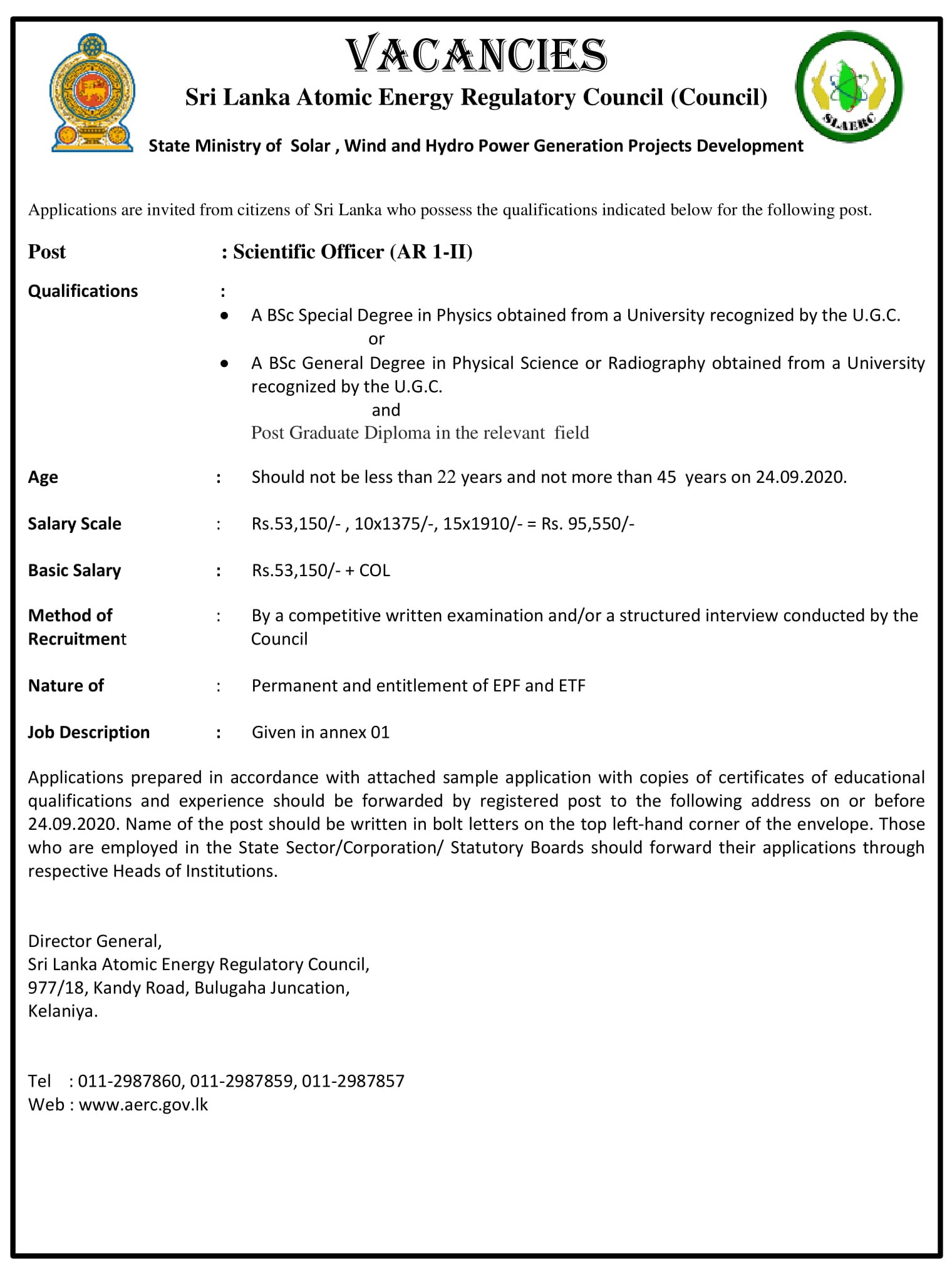 Scientific Officer - Sri Lanka Atomic Energy Regulatory Council