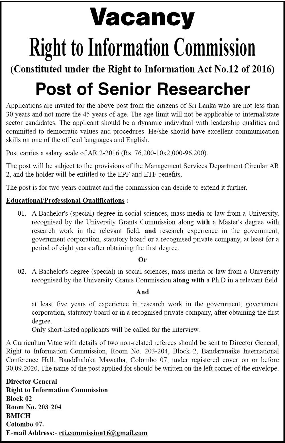 Senior Researcher - Right Information Commission