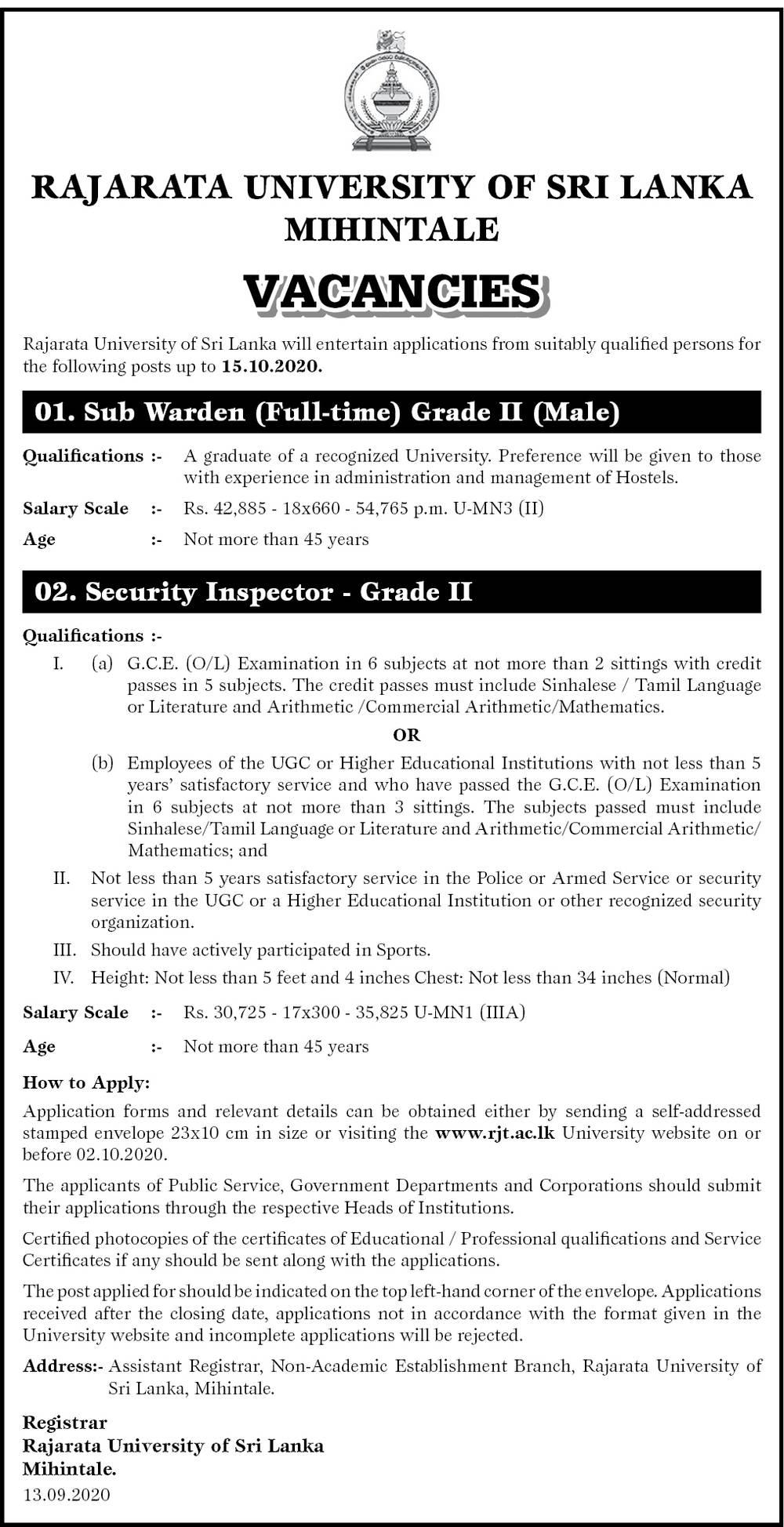Sub Warden (Male), Security Inspector - Rajarata University