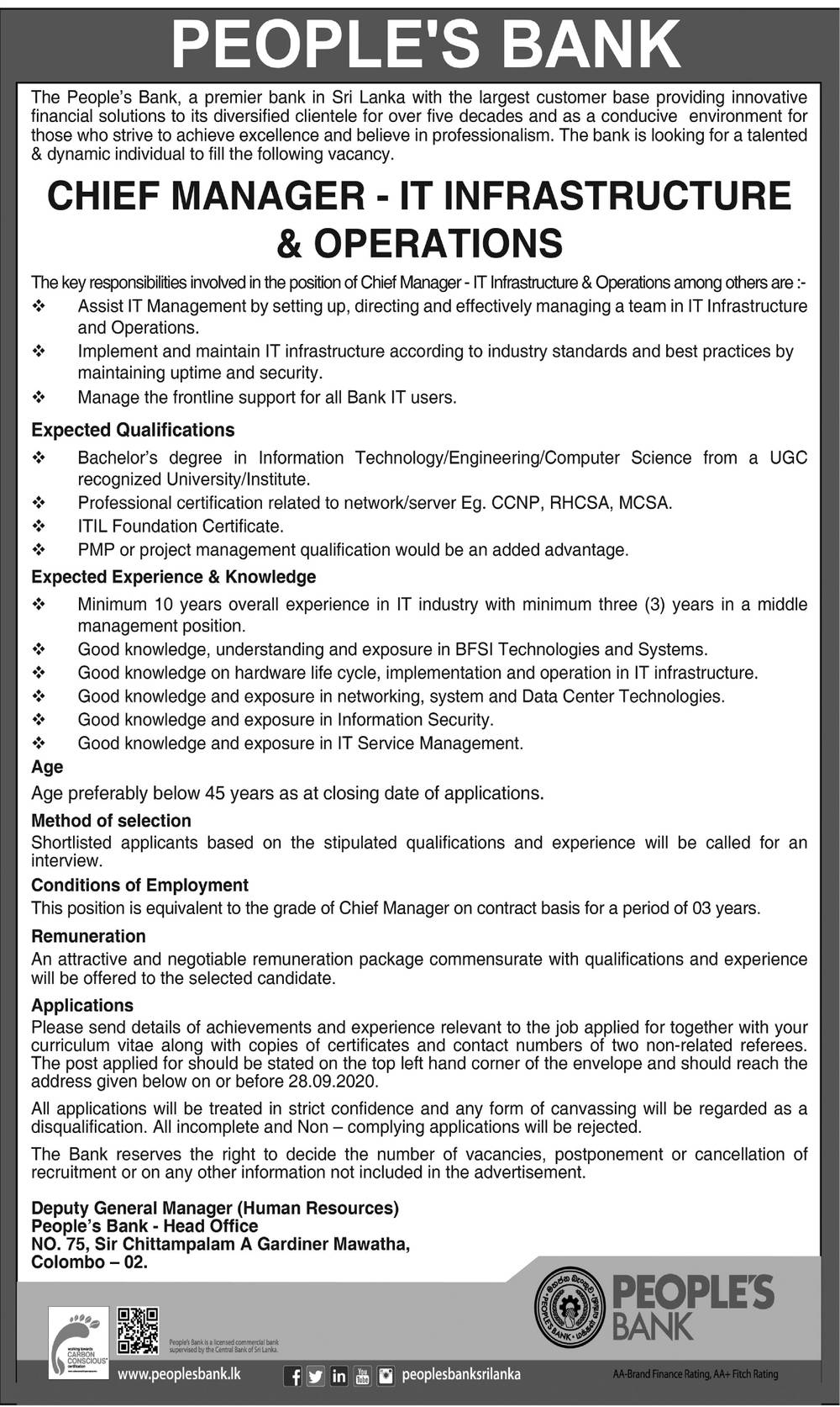 Chief Manager (IT Infrastructure & Operations) - People's Bank