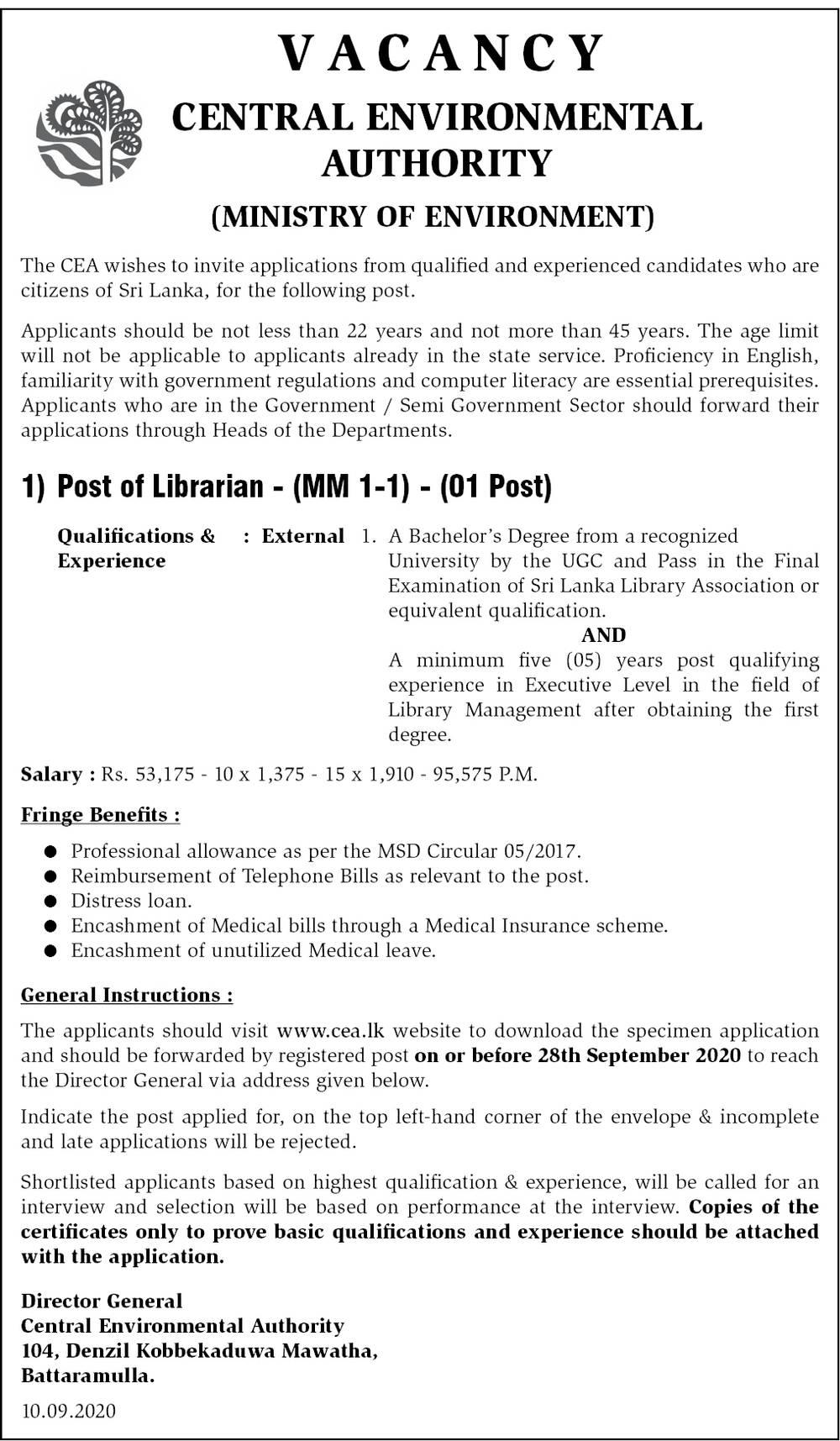 Librarian - Central Environmental Authority