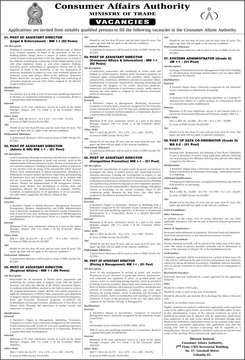 System Administration, Data Coordinator, Assistant Director - Consumer Affairs Authority