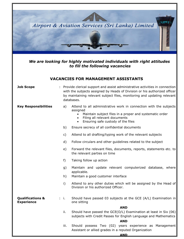 Management Assistant - Airport & Aviation Services (Sri Lanka) Ltd