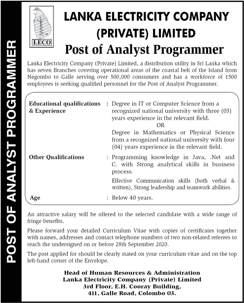 Analyst Programmer - Lanka Electricity Company (Private) Limited