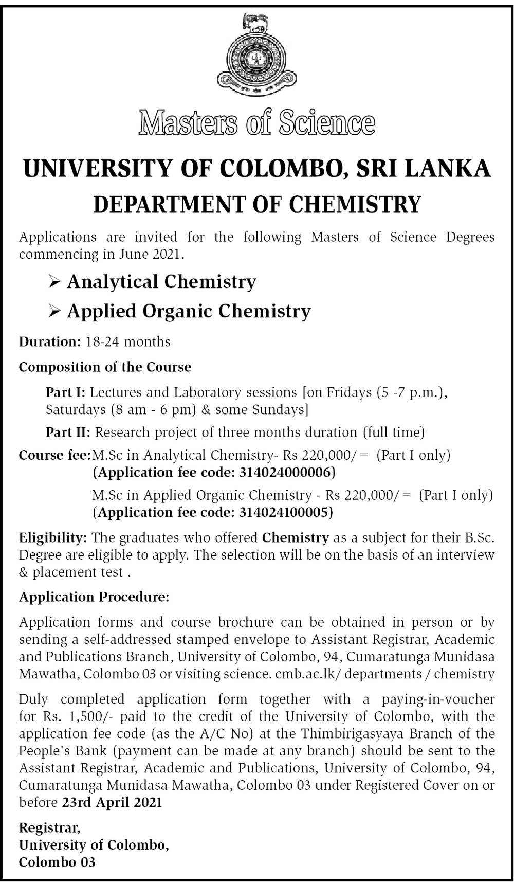 Analytical Chemistry Course, Applied Organic Chemistry Course - Masters of Science - University of Colombo