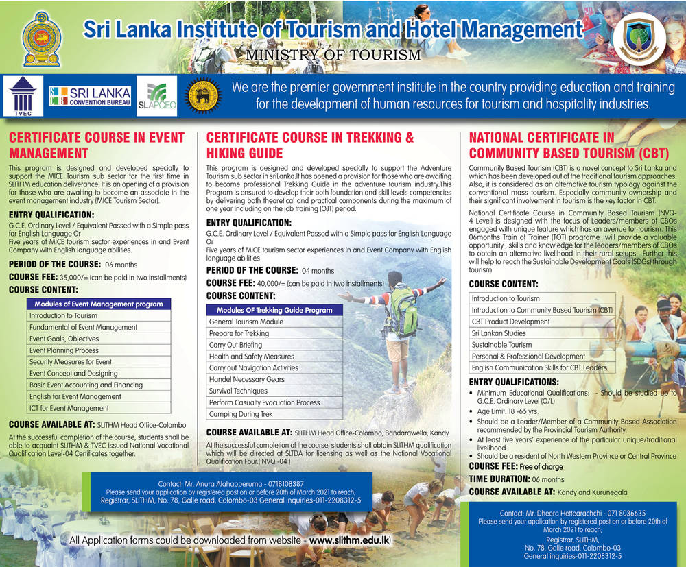 Certificate Course in Event Management, Certificate Course in Trekking & Hiking Guide, National Certificate in Community Based Tourism (CBT) - Sri Lanka Institute of Tourism & Hotel Management