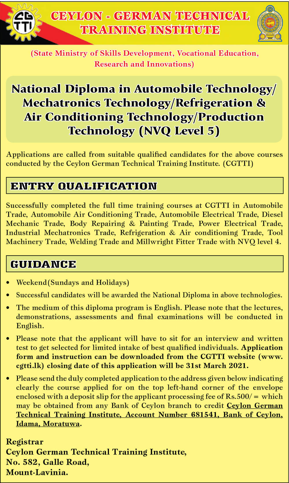 National Diploma in Automobile Technology/Mechatronics Technology/Refrigeration & Air Conditioning Technology/Production Technology (NVQ Level 5) - Ceylon  German Technical Training Institute