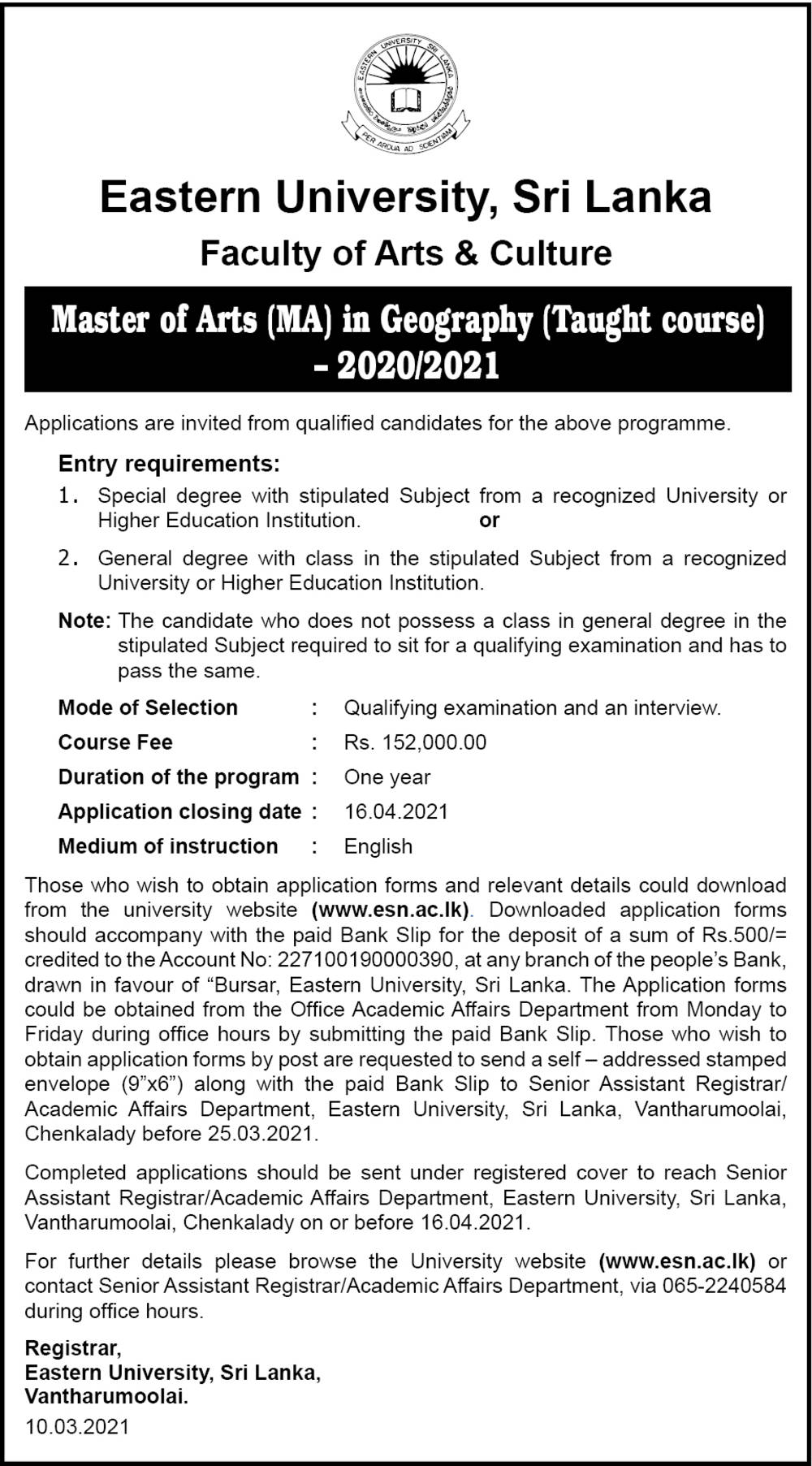 Master of Arts (MA) in Geography (Taught Course) (2020/2021) - Faculty of Arts & Culture - Eastern University, Sri Lanka