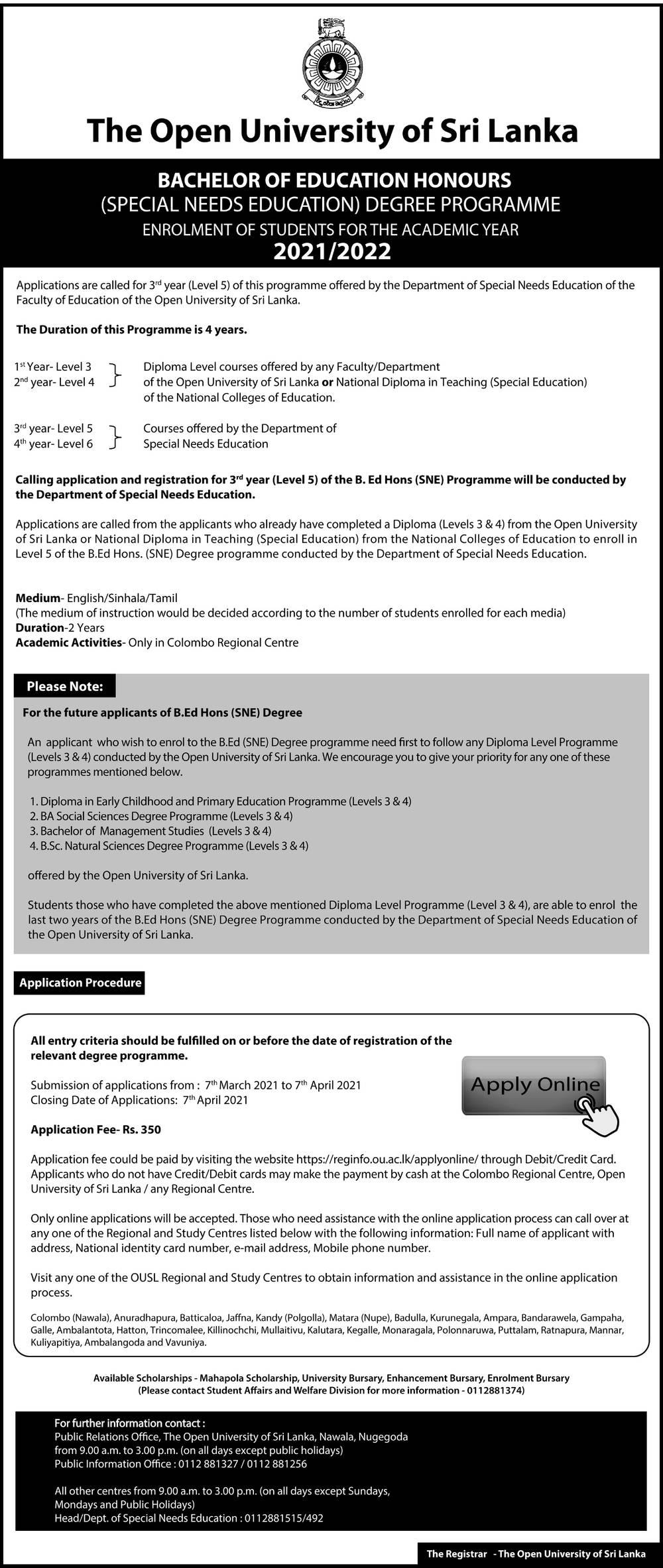 Bachelor of Education Honours (Special Needs Education) Degree Programme (2021/2022)- The Open University of Sri Lanka