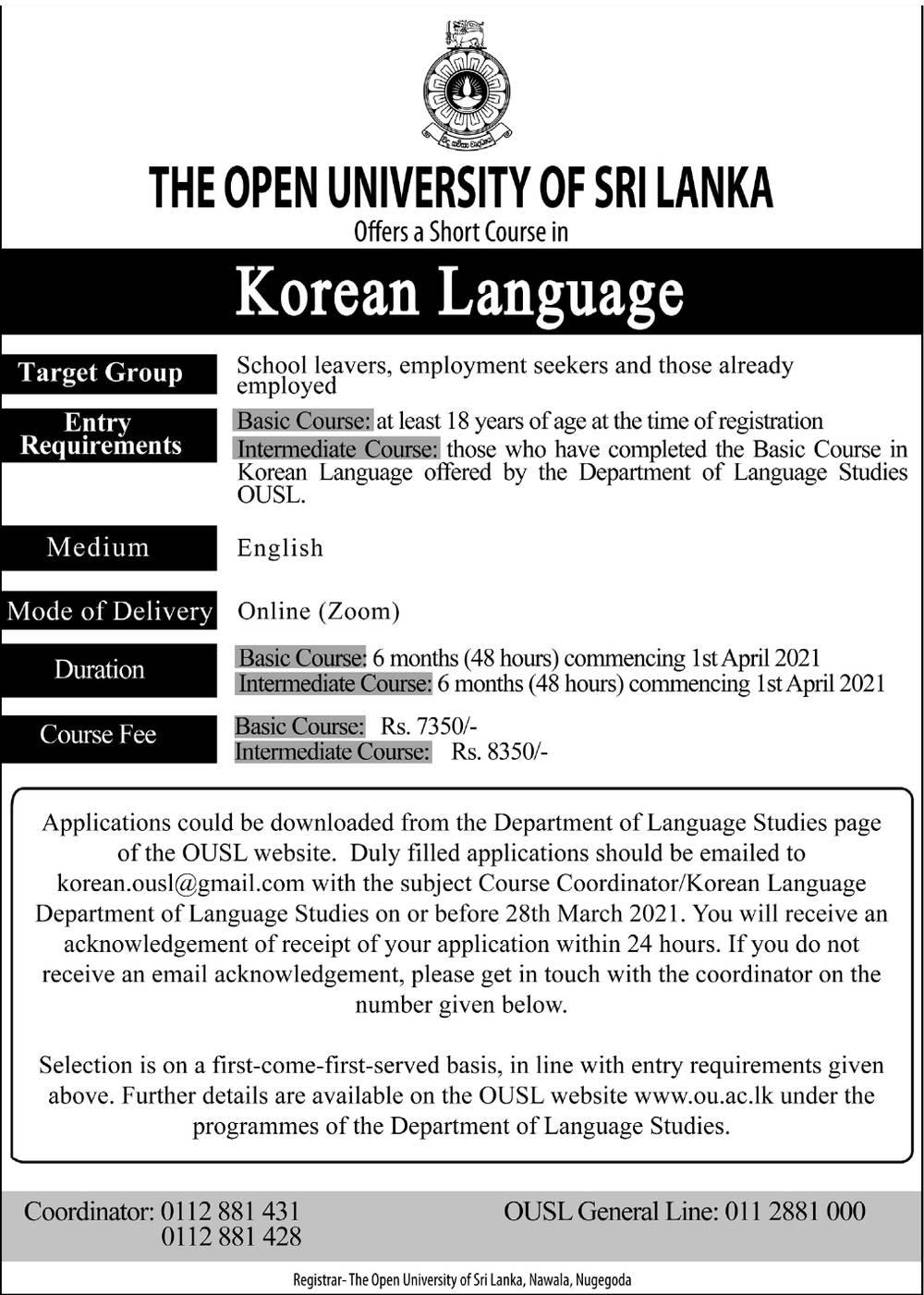 Short Course in Korean Language - The Open University of Sri Lanka