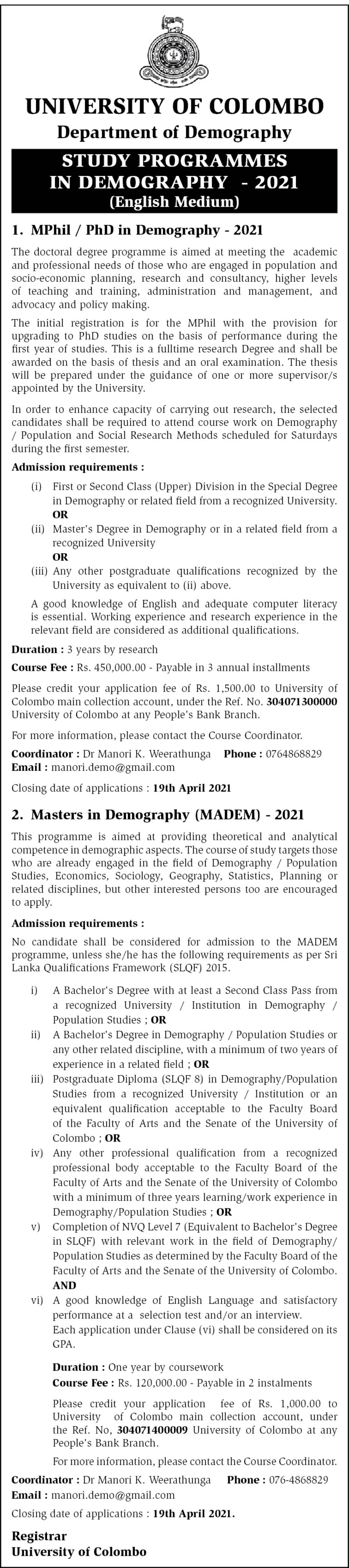 MPhil/PhD in Demography, Master in Demography - Department of Demography - University of Colombo