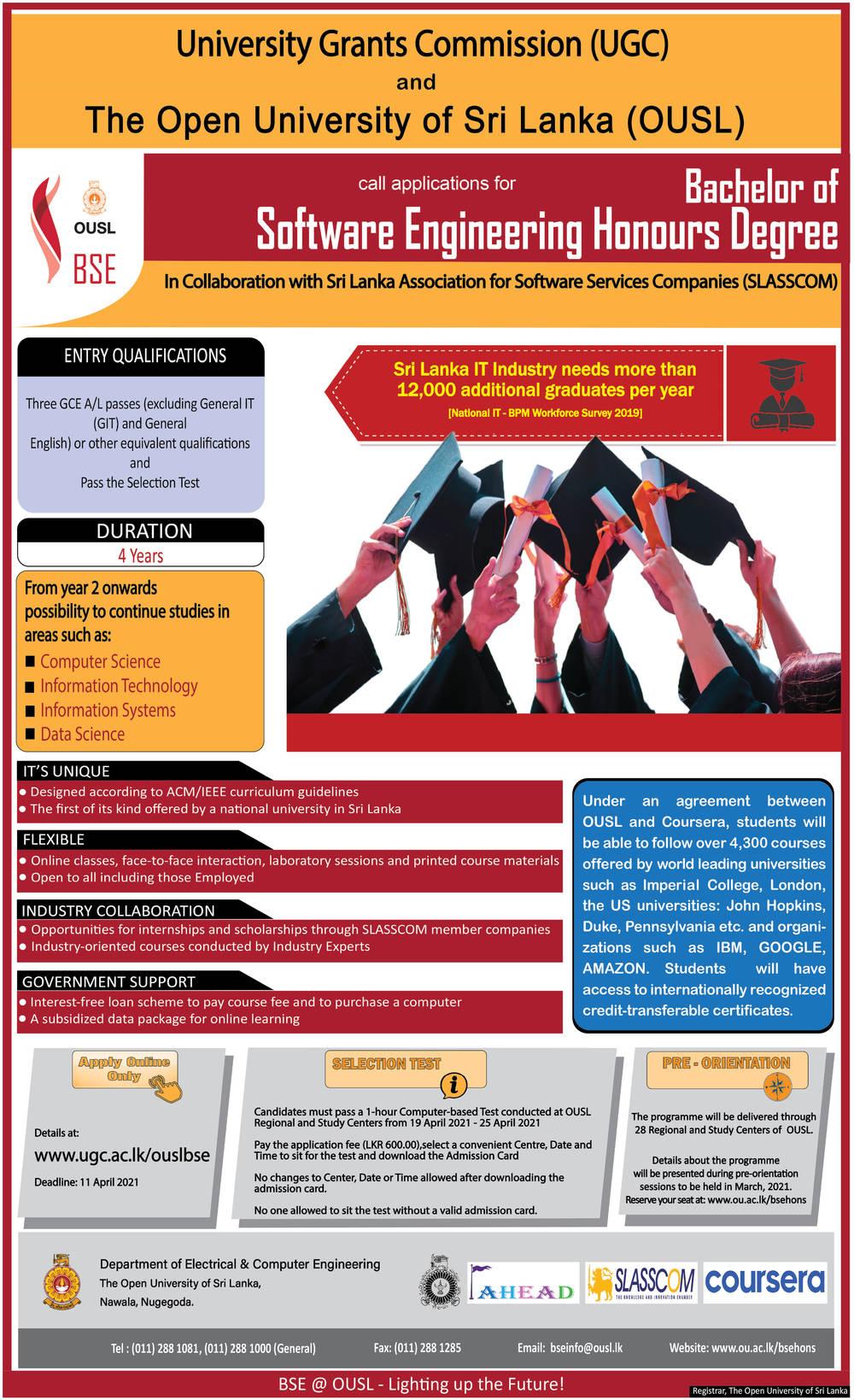 Bachelor of Software Engineering Honours Degree - The Open University of Sri Lanka