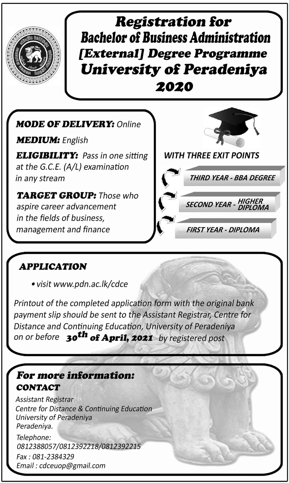 Registration for Bachelor of Business Administration (External) Degree Programme - University of Peradeniya