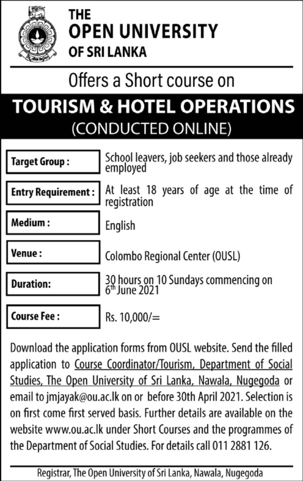 Offers a Short Course on Tourism & Hotel Operations - The Open University of Sri Lanka