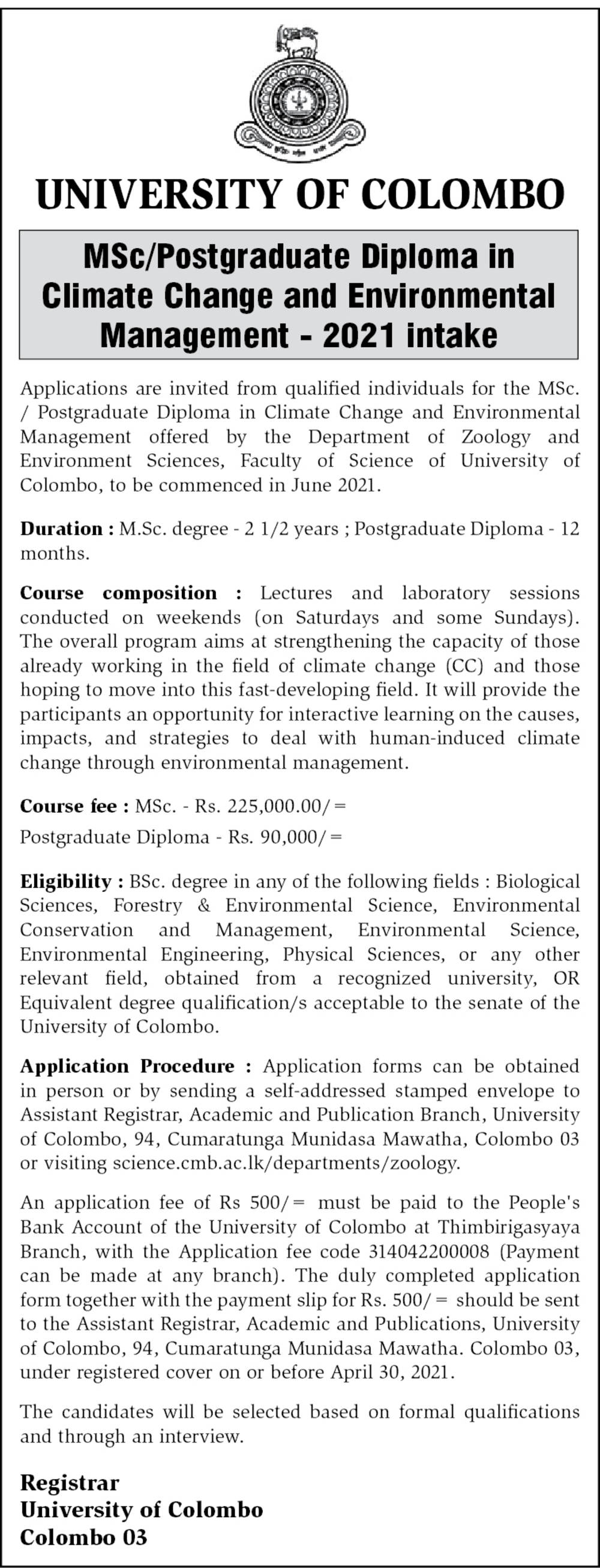 MSc/Postgraduate Diploma in Climate Change & Environmental Management ( 2021) - University of Colombo