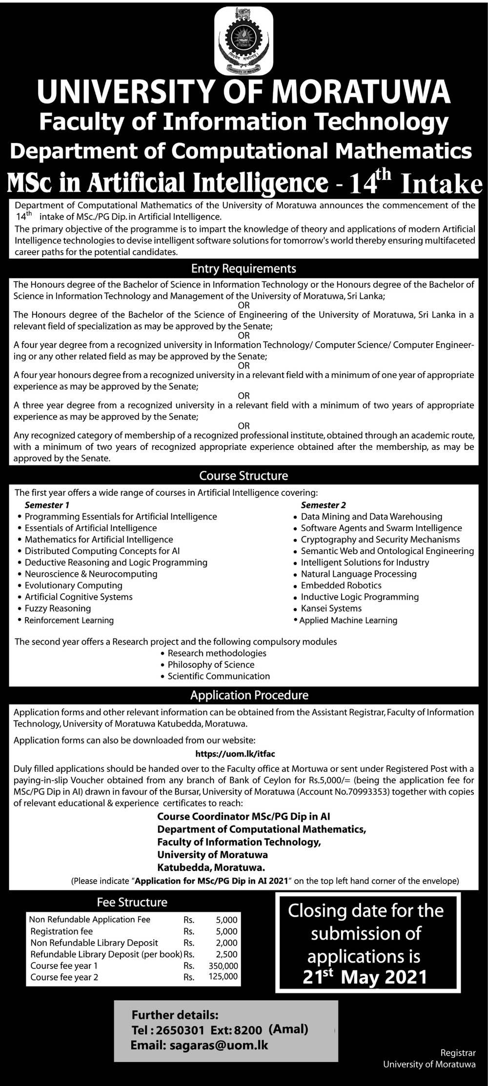 MSc in Artificial Intelligence - Faculty of Information Technology - University of Moratuwa