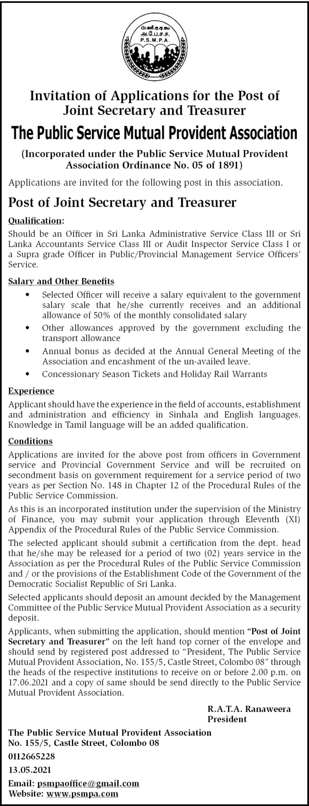Joint Secretary and Treasurer - The Public Service Mutual Provident Association