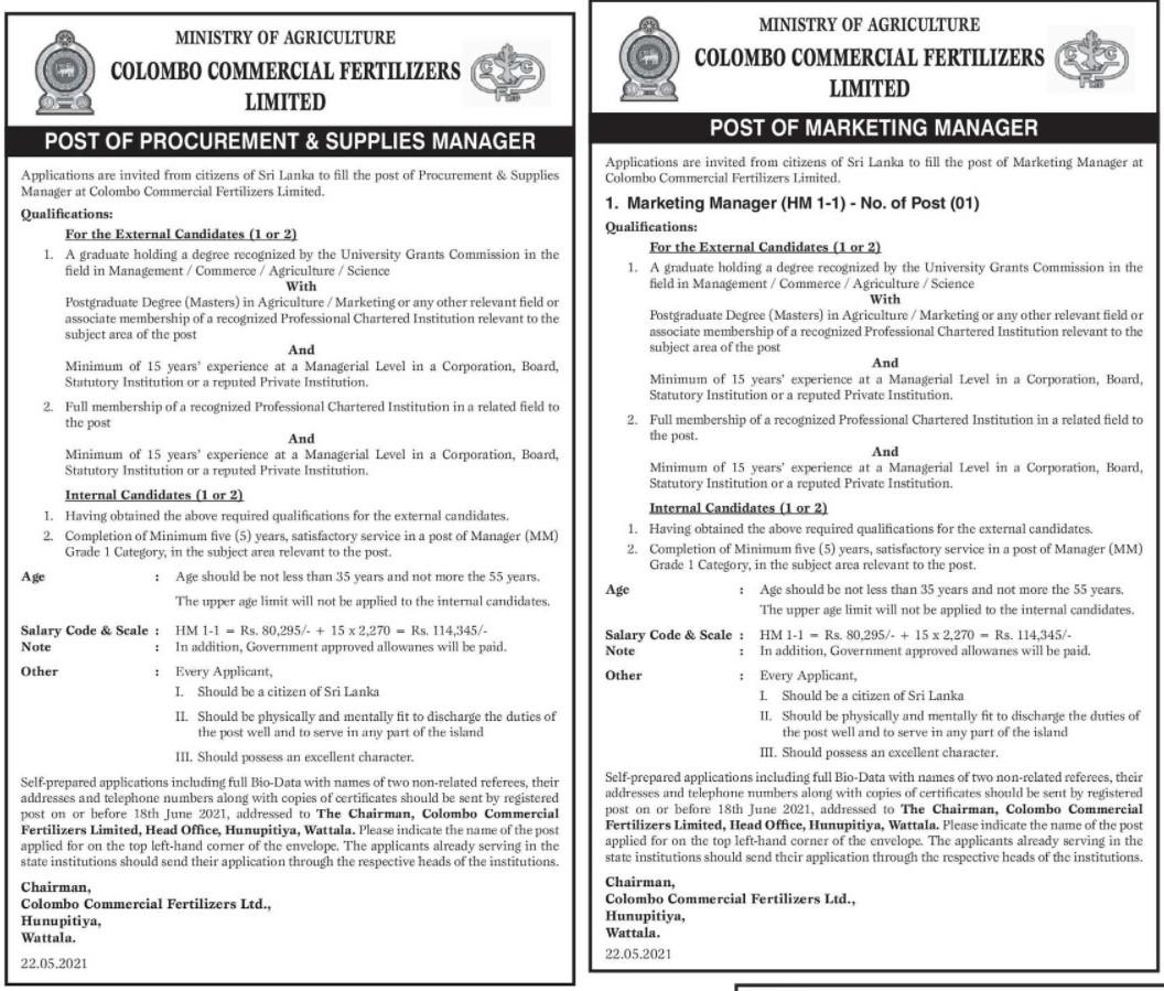 Marketing Manager, Procurement & Supplies Manager - Colombo Commercial Fertilizers Ltd