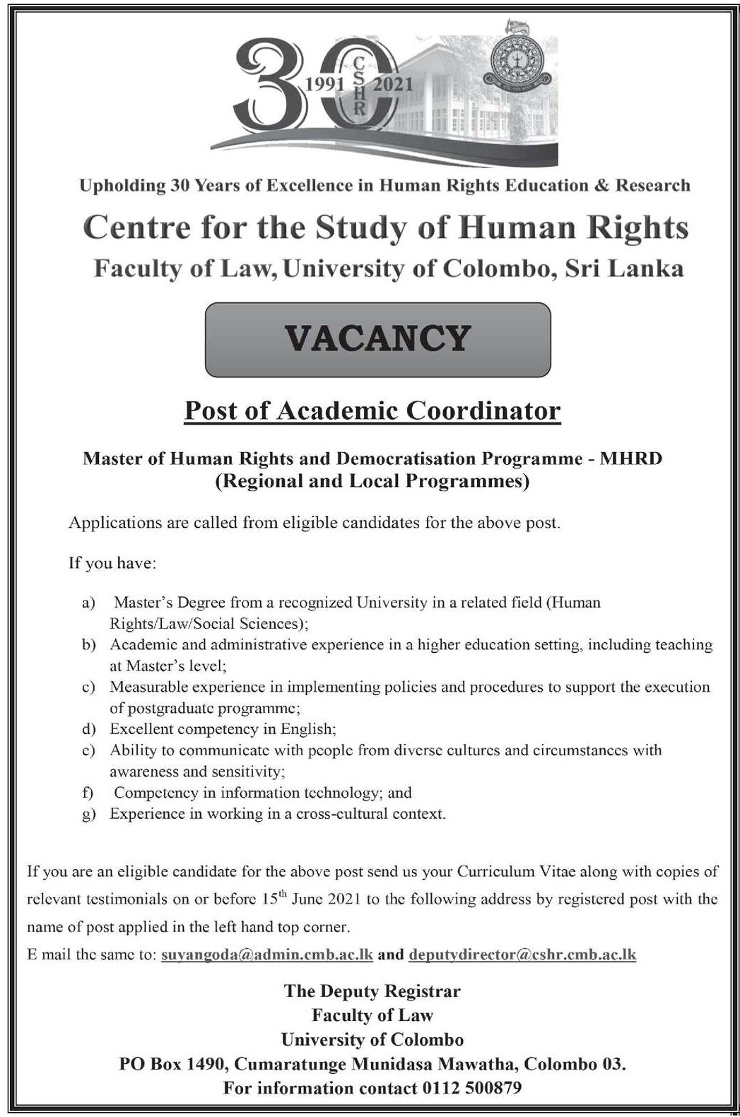 Academic Coordinator - Faculty of Law - University of Colombo