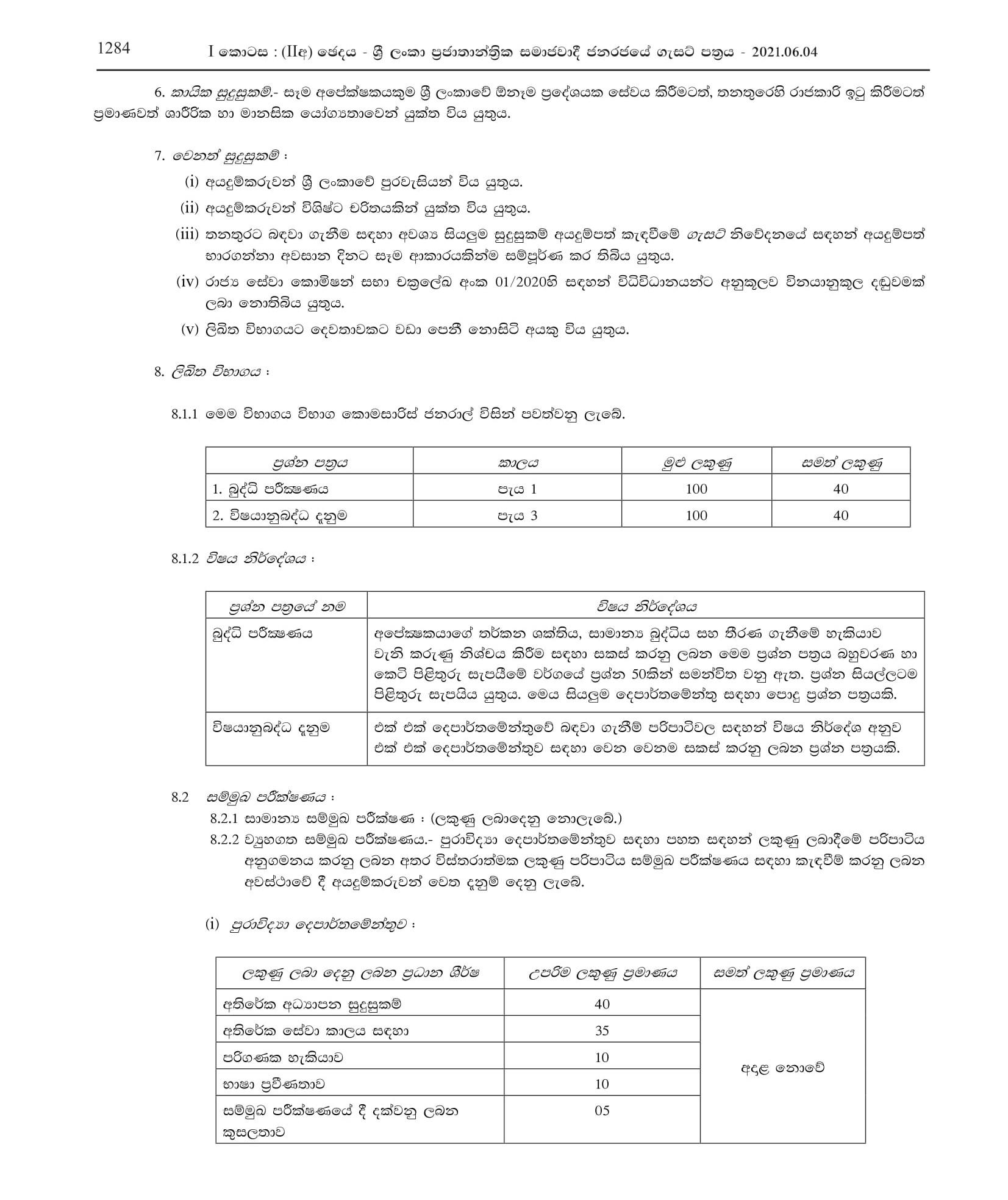 Limited Competitive Exam for Recruitment to Grade III of Sri Lanka Scientific Service 2018(2021)