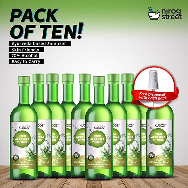 NirogEssentials - Kudos Hand Sanitizer ( Pack of 10)