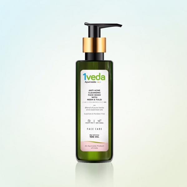 1Veda - Anti Acne Cleansing Face Wash with Neem & Tulsi