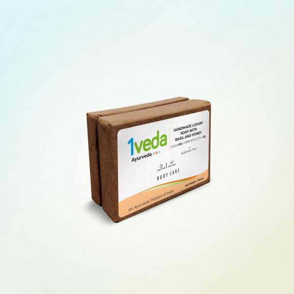 1Veda - Handmade Luxury Soap With Basil and Honey