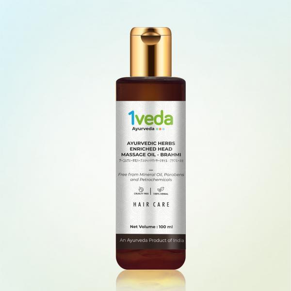 1Veda - Ayurvedic Brahmi Herbs Enriched Head Massage Oil