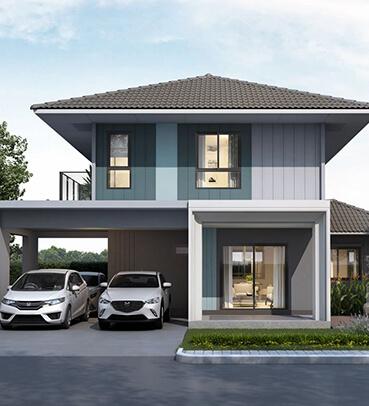 แบบบ้านเดี่ยวสไตล์โมเดิร์น สำหรับขยายครอบครัว จัดเต็มฟังก์ชันการใช้งานรองรับความต้องการผู้อยู่อาศัย ทั้งห้องนอนล่าง ครัวไทย หรือแม้แต่พื้นที่จอดรถที่รองรับได้ถึง 3 คัน