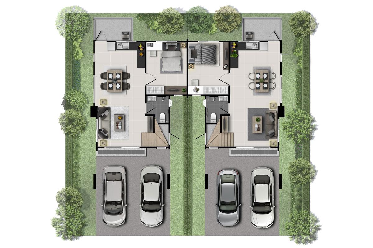 แบบบ้านสวย แบบบ้านสไตล์โมเดิร์น Visby แบบบ้านครอบครัวเล็ก เรือนหอ