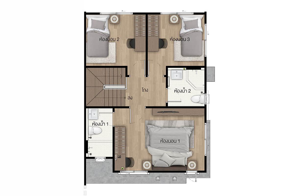 แบบบ้านสวย แบบบ้านสไตล์โมเดิร์น หอมนิล 134 (Black Rice) แบบบ้านครอบครัวเล็ก เรือนหอ