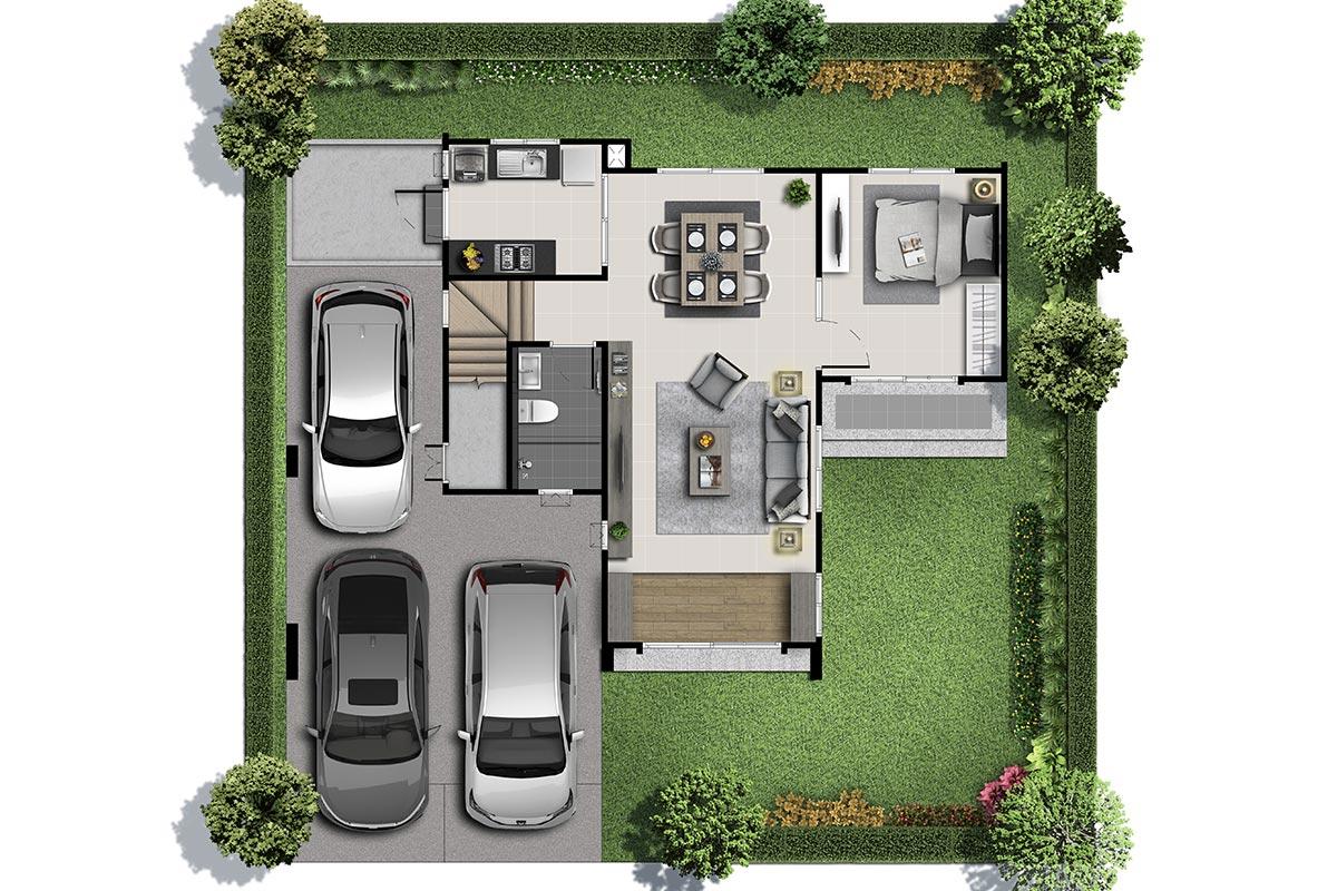 แบบบ้านสวย แบบบ้านสไตล์รีสอร์ท Millet แบบบ้านครอบครัวใหญ่ แบบบ้านเพื่อผู้สูงอายุ