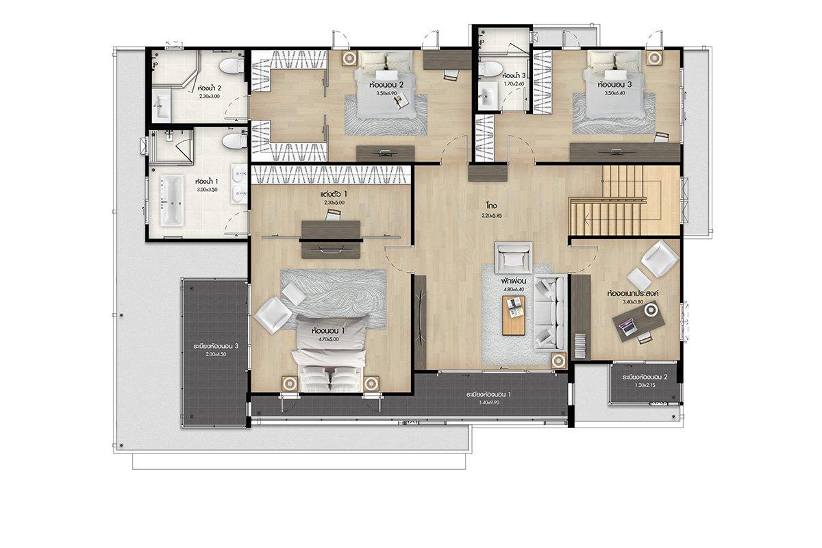 แบบบ้านสวย แบบบ้านสไตล์รีสอร์ท Windward แบบบ้านเพื่อผู้สูงอายุ แบบบ้านครอบครัวใหญ่